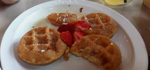 Tres Leches Waffles with Strawberries